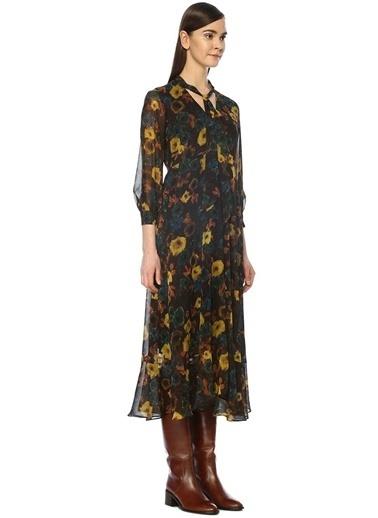 Beymen Club Yakası Fularlı Çiçekli Midi Elbise Kahve